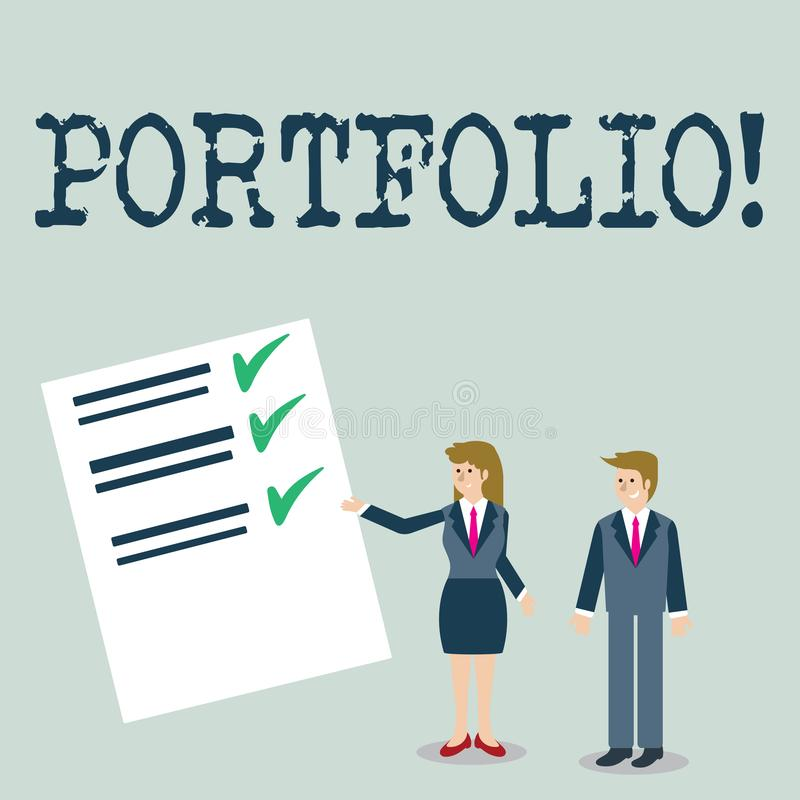 Text sign showing Portfolio. Conceptual photo Examples of work used to apply for a job Combination of shares. Text sign showing Portfolio. Conceptual photo stock illustration
