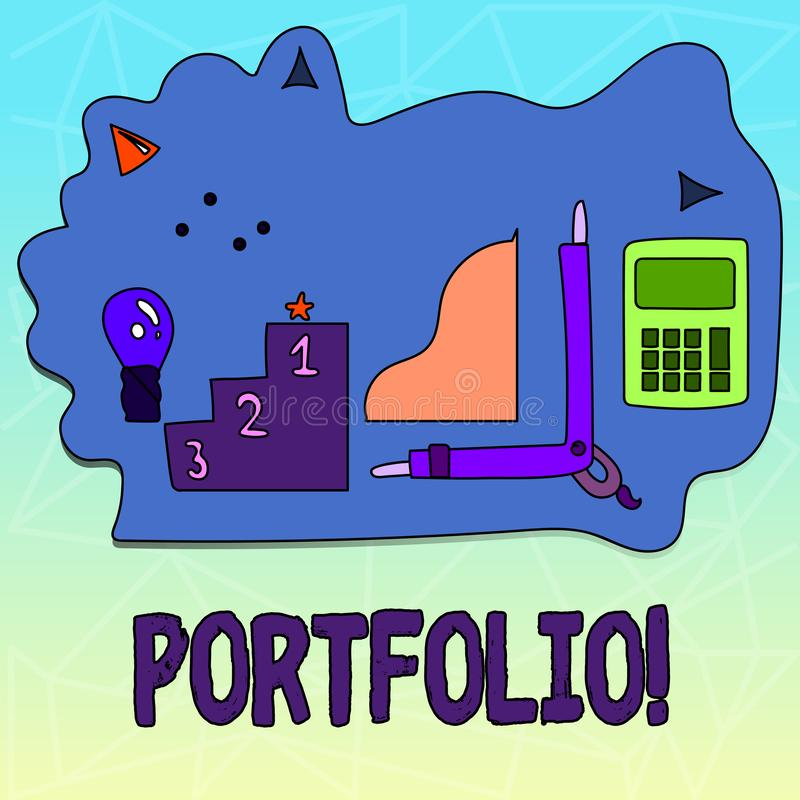 Text sign showing Portfolio. Conceptual photo Examples of work used to apply for a job Combination of shares. Text sign showing Portfolio. Conceptual photo royalty free illustration