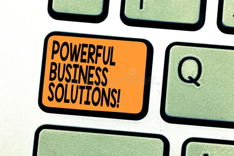 Text sign showing Powerful Business Solutions. Conceptual photo ideas used to help a company achieve its goals Keyboard. Key Intention to create computer royalty free stock photo