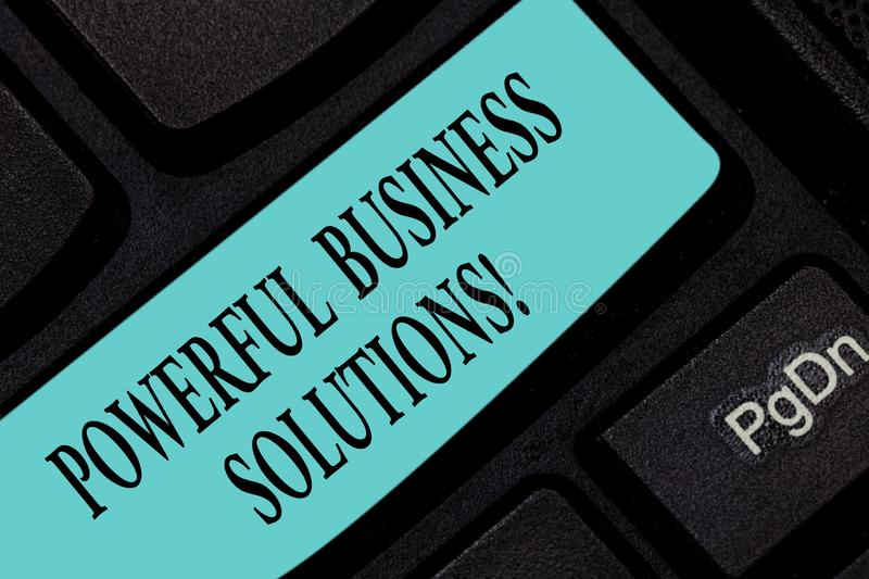 Text sign showing Powerful Business Solutions. Conceptual photo ideas used to help a company achieve its goals Keyboard. Key Intention to create computer royalty free stock photos