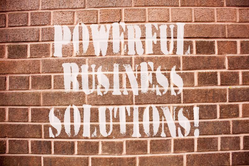 Text sign showing Powerful Business Solutions. Conceptual photo ideas used to help a company achieve its goals. Text sign showing Powerful Business Solutions stock photo