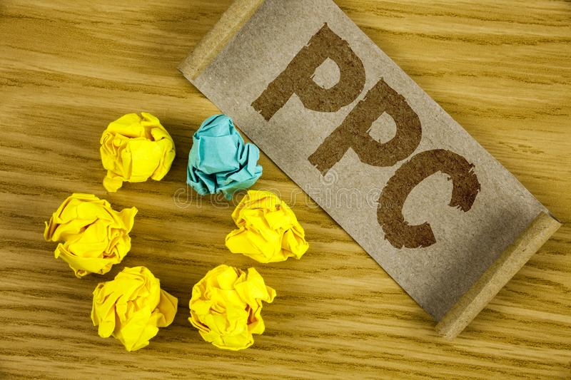Text sign showing Ppc. Conceptual photo Pay Per Click Advertising Strategies Direct Traffic to Websites written on Folded Cardboar. Text sign showing Ppc stock images