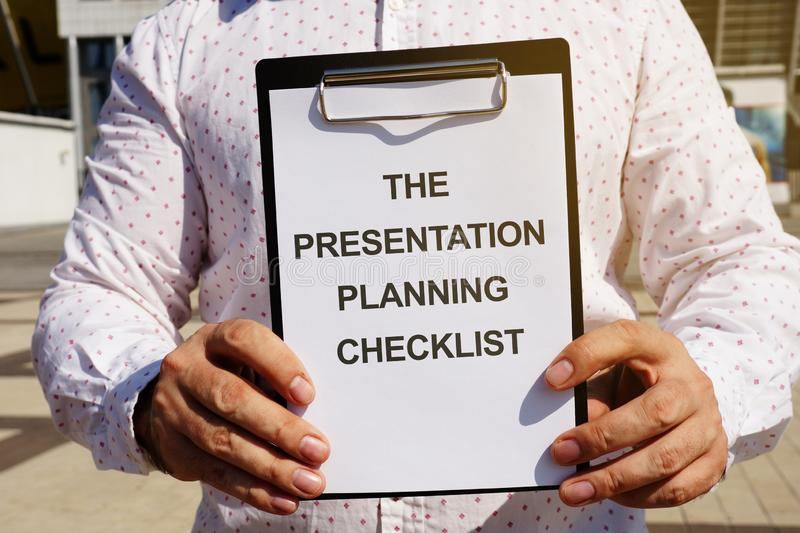Text sign showing The Presentation Planning Checklist royalty free stock image