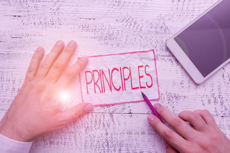 Text sign showing Principles. Conceptual photo fundamental truth that serves as the base for a system of belief. Text sign showing Principles. Business photo stock photography
