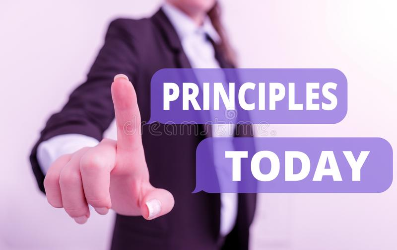 Text sign showing Principles. Conceptual photo fundamental truth that serves as the base for a system of belief Digital. Text sign showing Principles. Business royalty free stock photography