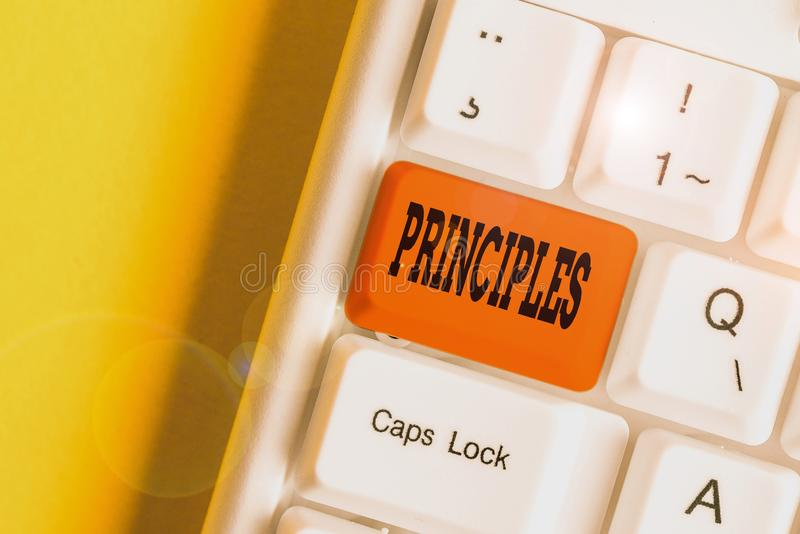 Text sign showing Principles. Conceptual photo fundamental truth that serves as the base for a system of belief White pc keyboard. Text sign showing Principles stock image