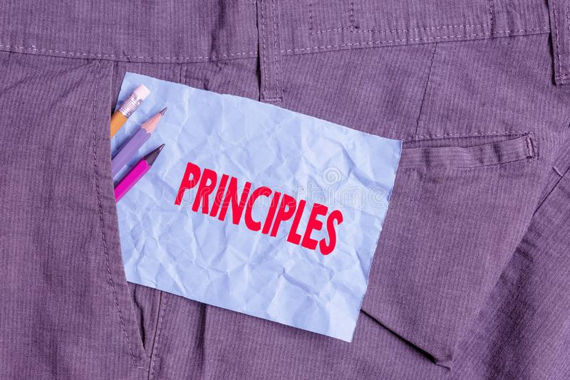 Text sign showing Principles. Conceptual photo fundamental truth that serves as the base for a system of belief Writing. Text sign showing Principles. Business royalty free stock photo
