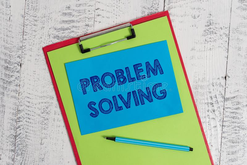 Text sign showing Problem Solving. Conceptual photo process of finding solutions to difficult or complex issues Colored royalty free stock image