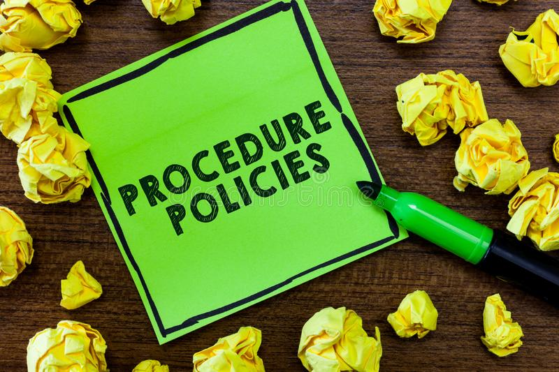 Text sign showing Procedure Policies. Conceptual photo Steps to Guiding Principles Rules and Regulations.  royalty free stock image