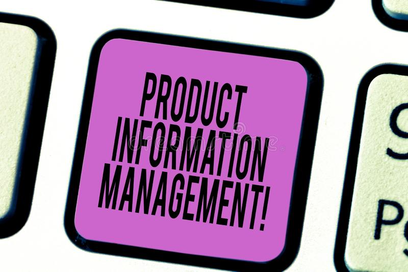 Text sign showing Product Information Management. Conceptual photo Managing the information required to market Keyboard. Key Intention to create computer stock photo