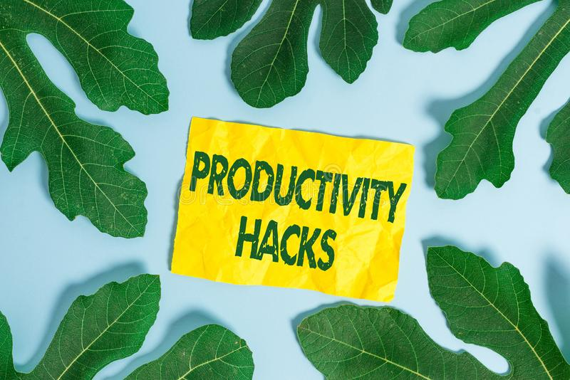 Text sign showing Productivity Hacks. Conceptual photo tricks that you get more done in the same amount of time. Text sign showing Productivity Hacks. Business stock image