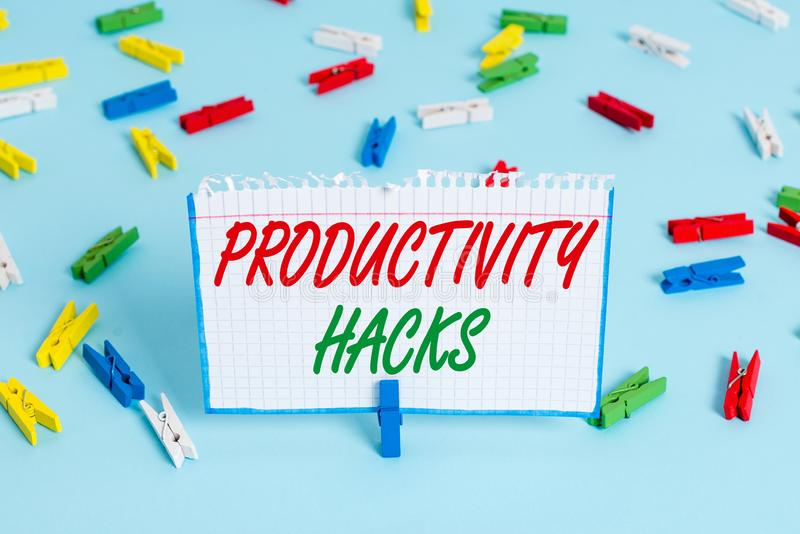 Text sign showing Productivity Hacks. Conceptual photo tricks that you get more done in the same amount of time Colored. Text sign showing Productivity Hacks royalty free stock image
