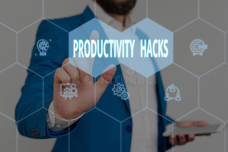Text sign showing Productivity Hacks. Conceptual photo tricks that you get more done in the same amount of time Male. Text sign showing Productivity Hacks stock photos