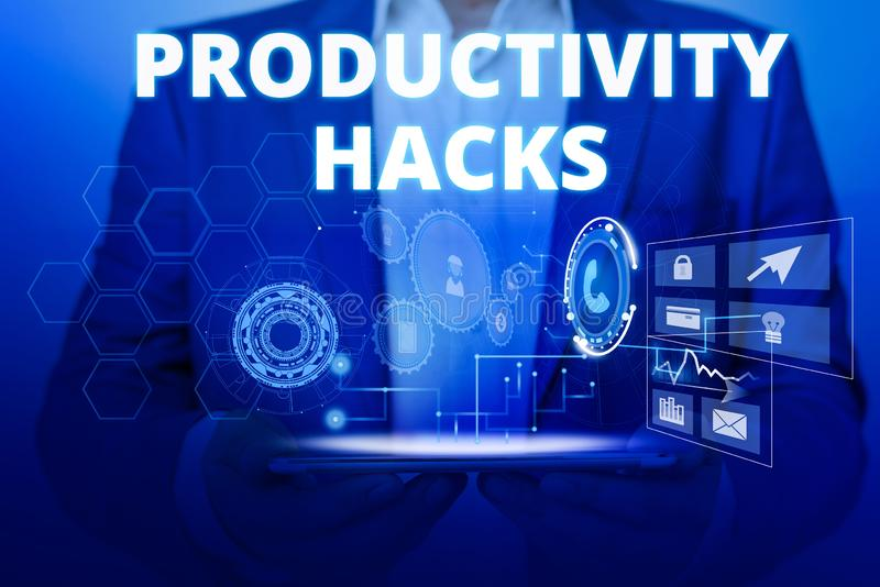 Text sign showing Productivity Hacks. Conceptual photo tricks that you get more done in the same amount of time Male. Text sign showing Productivity Hacks royalty free stock image