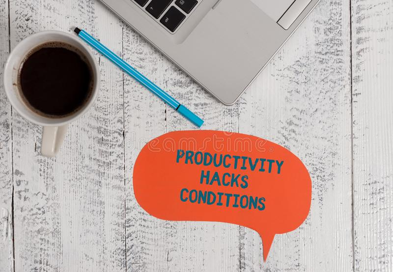 Text sign showing Productivity Hacks. Conceptual photo tricks that you get more done in the same amount of time Metallic. Text sign showing Productivity Hacks royalty free stock photos