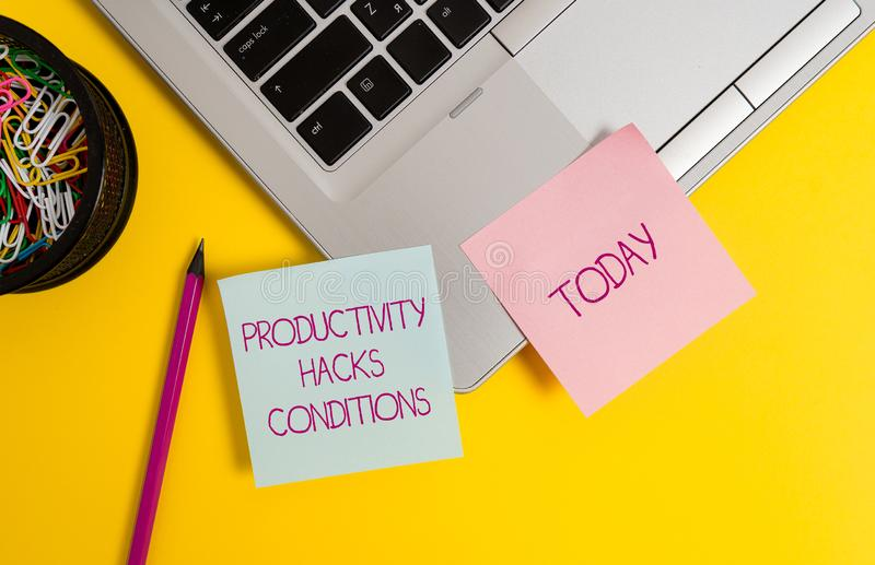 Text sign showing Productivity Hacks. Conceptual photo tricks that you get more done in the same amount of time Trendy. Text sign showing Productivity Hacks stock image
