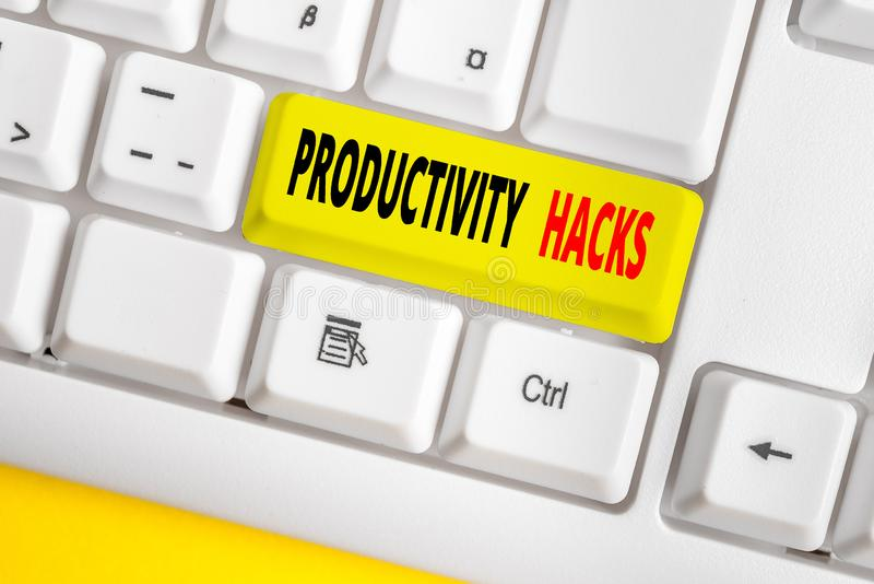 Text sign showing Productivity Hacks. Conceptual photo tricks that you get more done in the same amount of time White pc. Text sign showing Productivity Hacks royalty free stock images