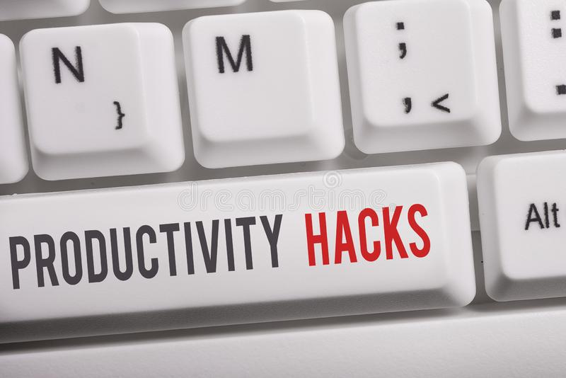Text sign showing Productivity Hacks. Conceptual photo tricks that you get more done in the same amount of time White pc. Text sign showing Productivity Hacks royalty free stock photography