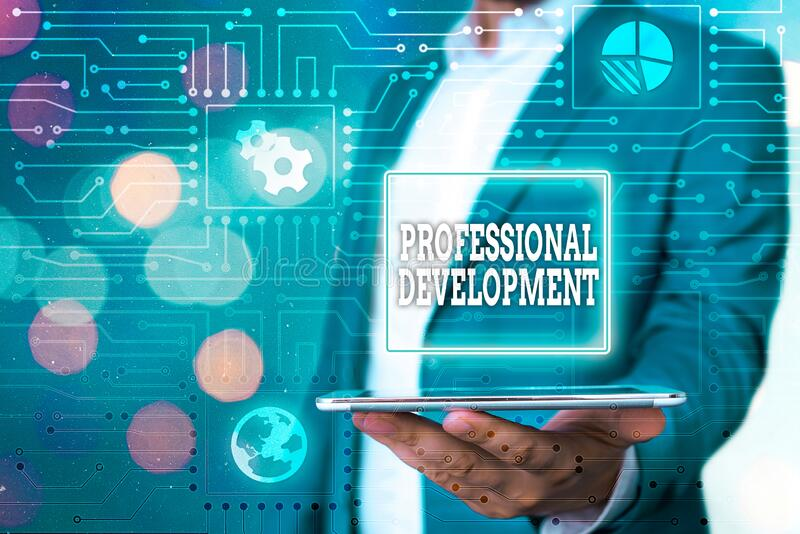 Text sign showing Professional Development. Conceptual photo Learning to earn or maintain Mastery Credentials. Text sign showing Professional Development royalty free stock photo