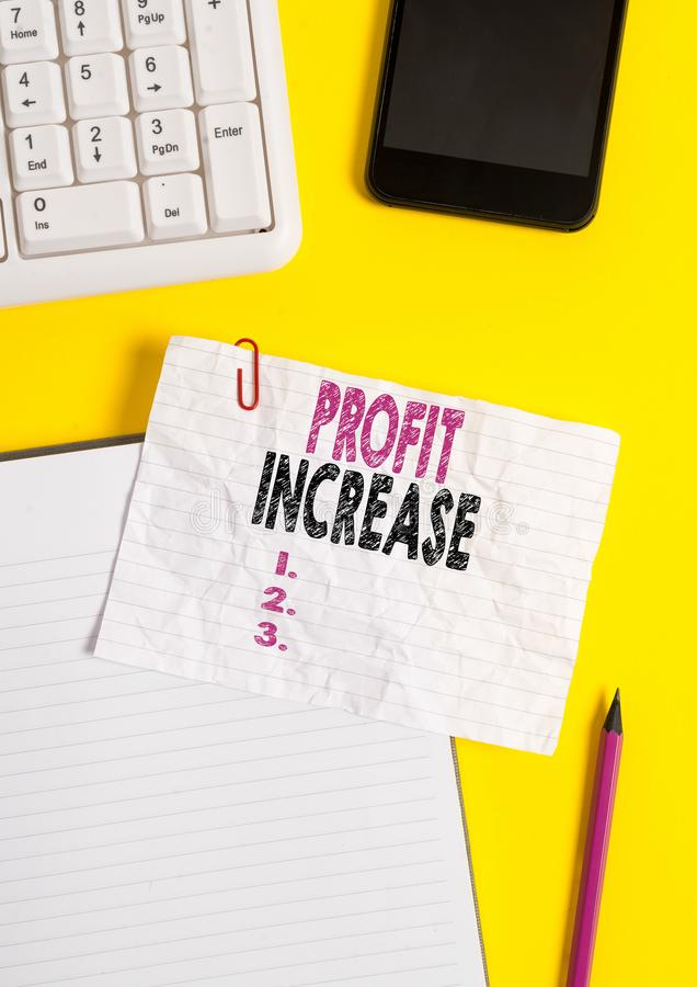 Text sign showing Profit Increase. Conceptual photo the growth in the amount of revenue gained from a business Crumpled. Text sign showing Profit Increase royalty free stock images
