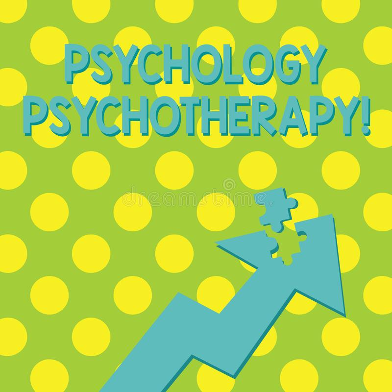 Text sign showing Psychology Psychotherapy. Conceptual photo treatment of mental disorder by psychological means. Text sign showing Psychology Psychotherapy royalty free illustration