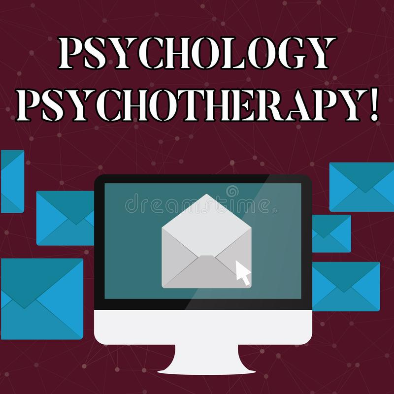Text sign showing Psychology Psychotherapy. Conceptual photo treatment of mental disorder by psychological means Open. Text sign showing Psychology Psychotherapy royalty free illustration