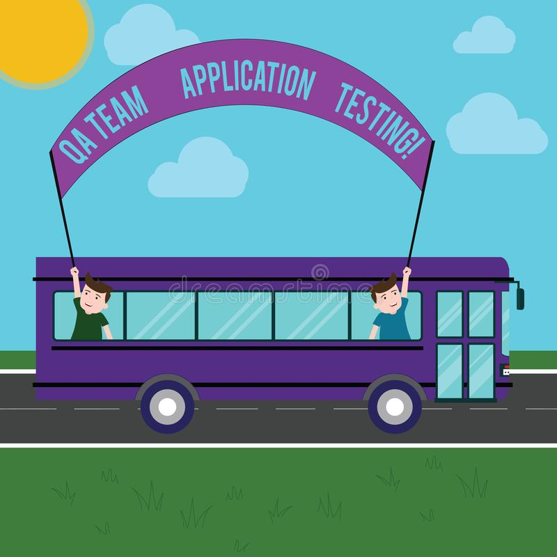 Text sign showing Qa Team Application Testing. Conceptual photo Question and answers making software test Two Kids stock illustration