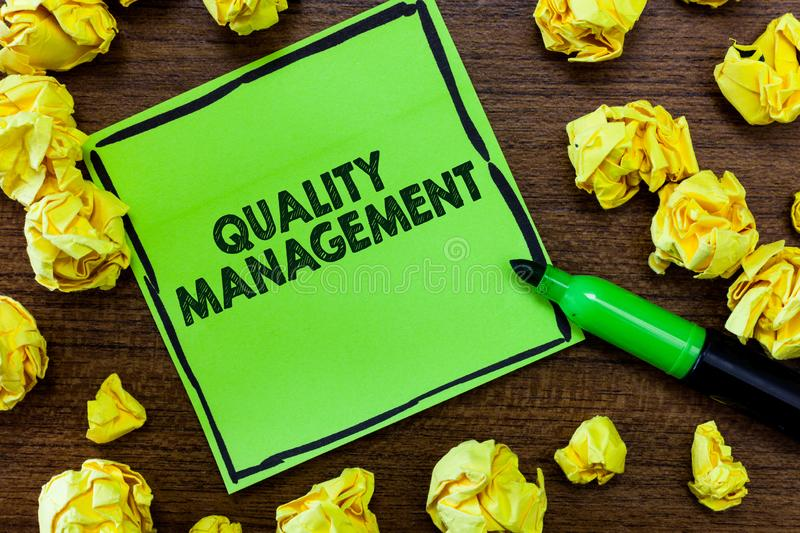 Text sign showing Quality Management. Conceptual photo Maintain Excellence Level High Standard Product Services.  royalty free stock photos
