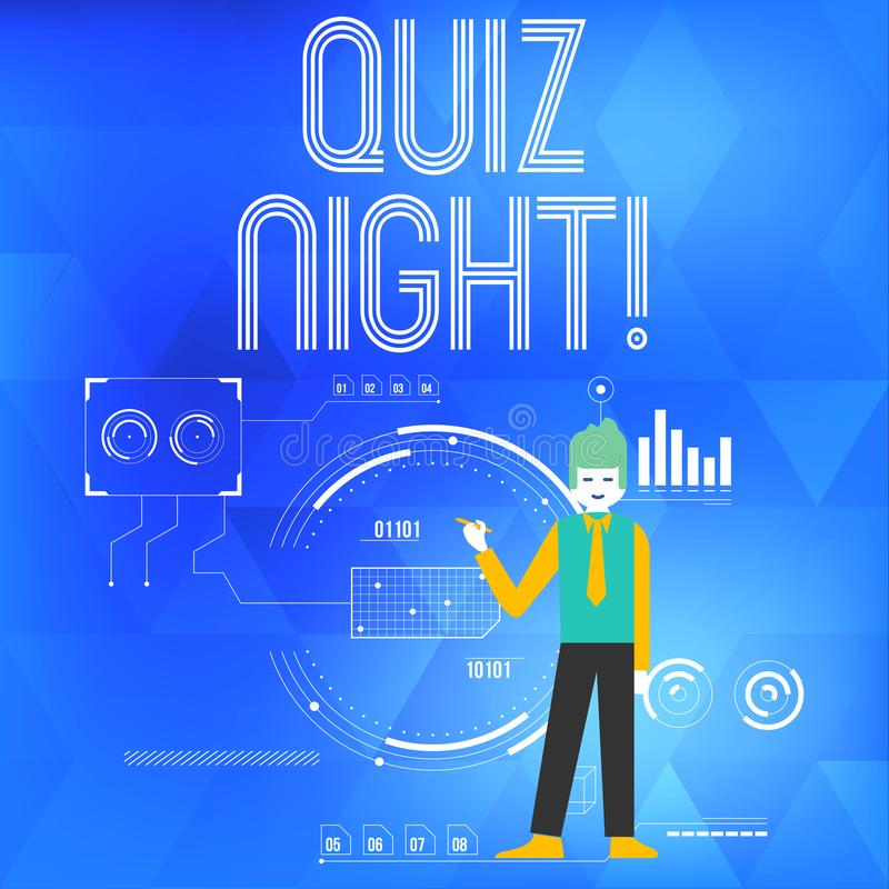 Text sign showing Quiz Night. Conceptual photo evening test knowledge competition between individuals Man Standing stock illustration
