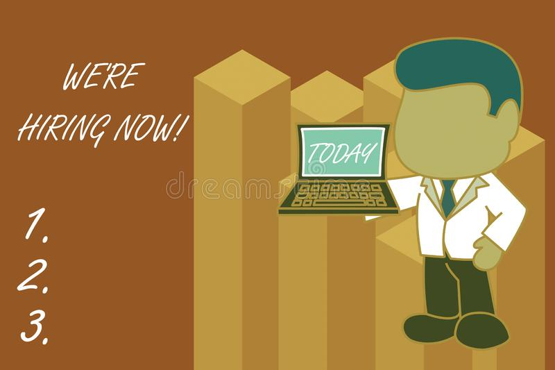 Text sign showing We Re Hiring Now. Conceptual photo recently employ someone or pay someone to do particular job. Text sign showing We Re Hiring Now. Business royalty free illustration