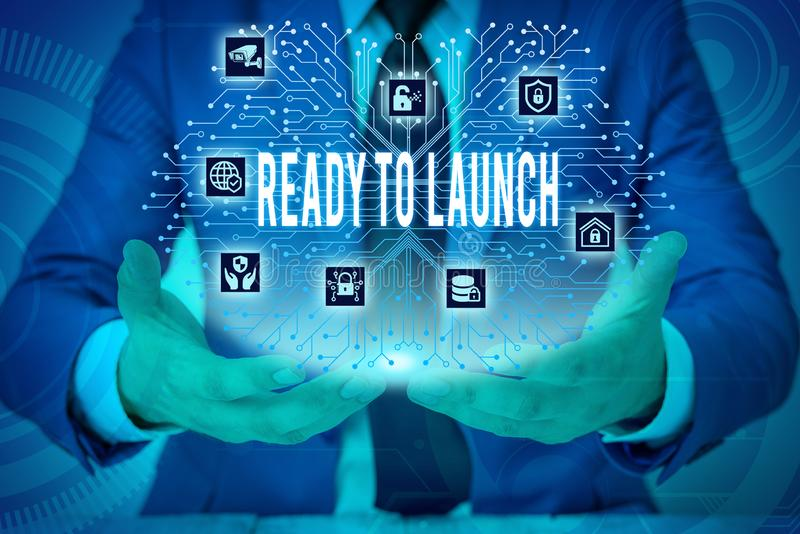 Text sign showing Ready To Launch. Conceptual photo an event to celebrate or introduce something new to market Male. Text sign showing Ready To Launch. Business royalty free stock photo