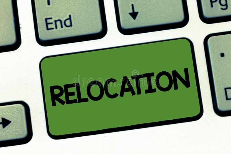 Text sign showing Relocation. Conceptual photo Action of moving to a new place and establishing home or business.  royalty free stock photography