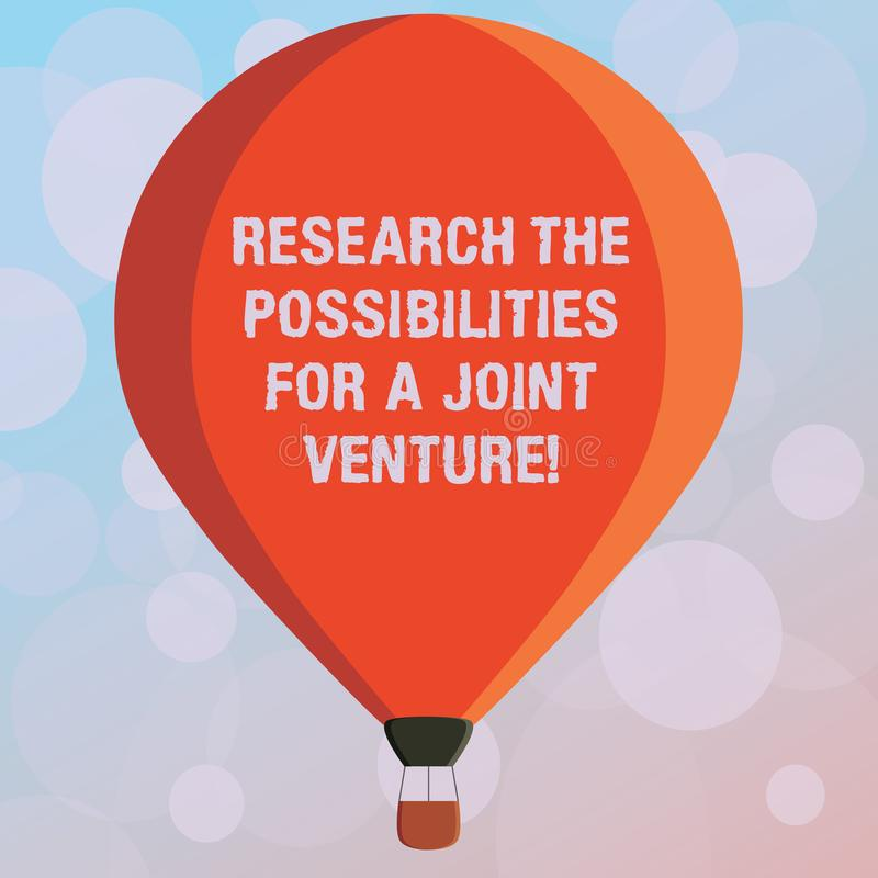 Text sign showing Research The Possibilities For A Joint Venture. Conceptual photo Make a partnership deal Three toned Color Hot royalty free stock photography