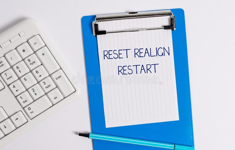 Text sign showing Reset Realign Restart. Conceptual photo Life audit will help you put things in perspectives. Text sign showing Reset Realign Restart. Business royalty free stock photo