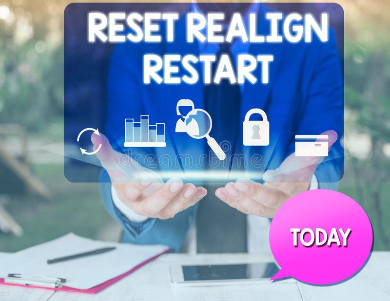 Text sign showing Reset Realign Restart. Conceptual photo Life audit will help you put things in perspectives man icons. Text sign showing Reset Realign Restart stock photos