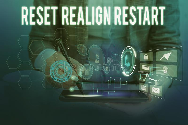 Text sign showing Reset Realign Restart. Conceptual photo Life audit will help you put things in perspectives Woman wear. Text sign showing Reset Realign Restart royalty free stock photo