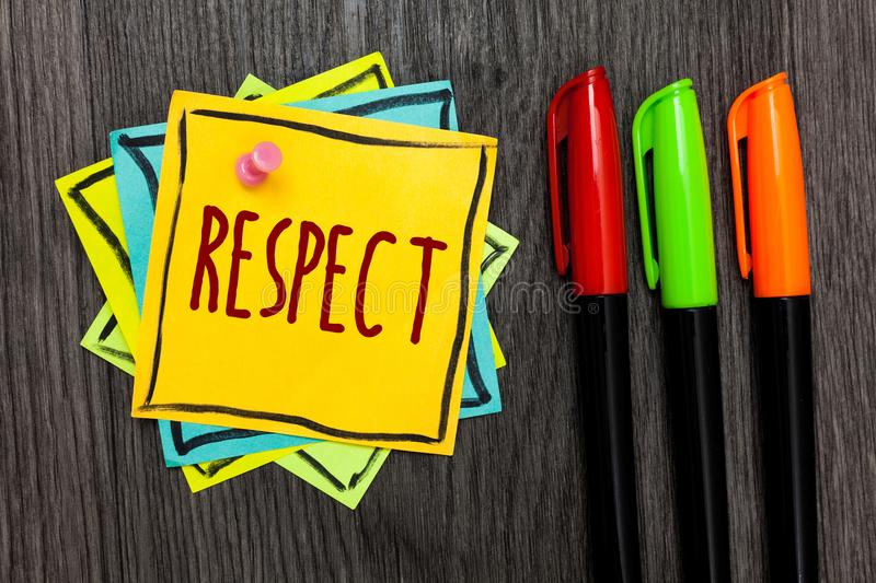 Text sign showing Respect. Conceptual photo Feeling of deep admiration for someone or something Appreciation Three marker pens fou. R small art papers important stock images