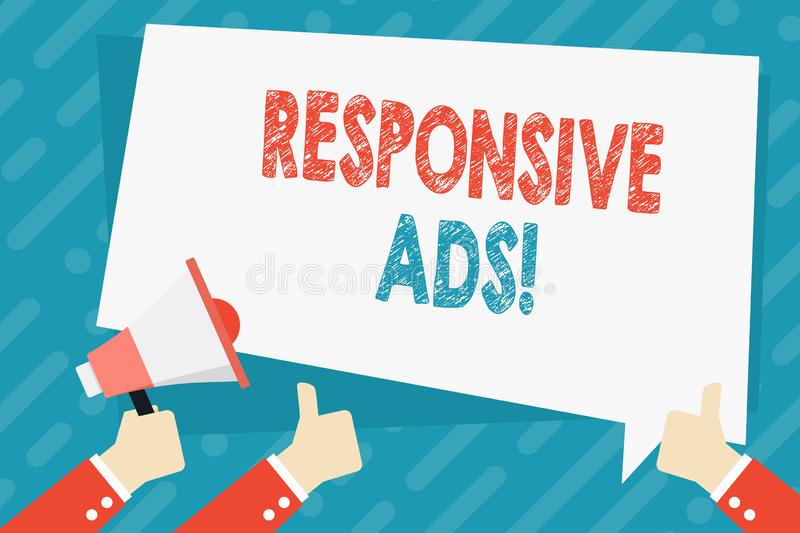 Text sign showing Responsive Ads. Conceptual photo Automatically adjust form and format to fit existing ad space Hand. Text sign showing Responsive Ads. Business vector illustration