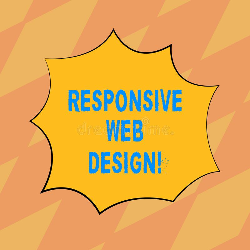 Text sign showing Responsive Web Design. Conceptual photo web page creation that makes use of flexible layouts Blank vector illustration