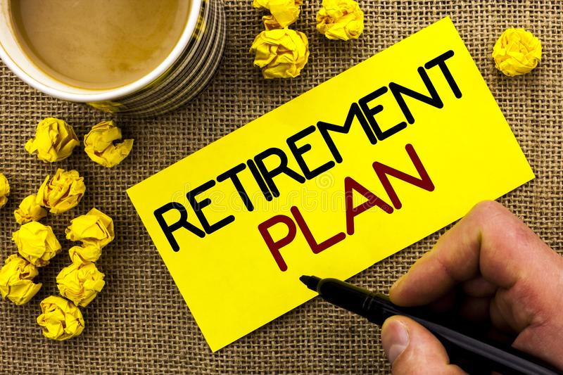 Text sign showing Retirement Plan. Conceptual photo Savings Investments that provide incomes for retired workers written on Sticky. Text sign showing Retirement stock photo