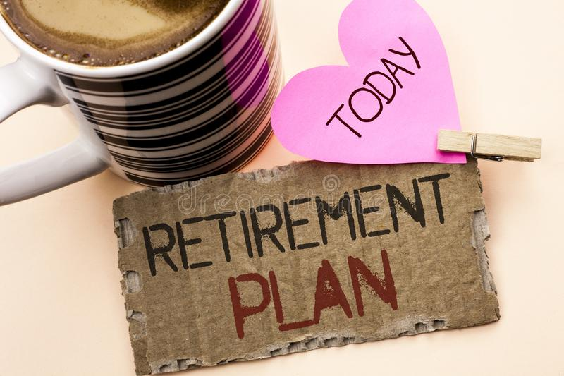 Text sign showing Retirement Plan. Conceptual photo Savings Investments that provide incomes for retired workers written on Tear C. Text sign showing Retirement royalty free stock image