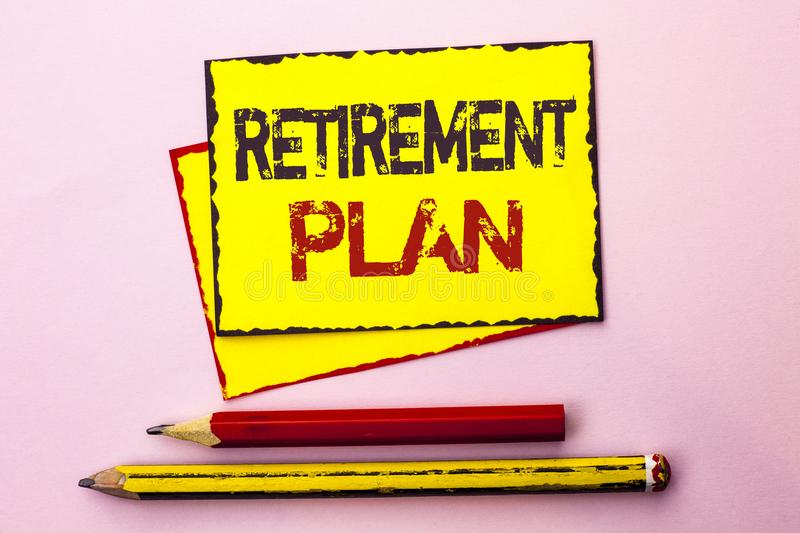 Text sign showing Retirement Plan. Conceptual photo Savings Investments that provide incomes for retired workers written on Yellow. Text sign showing Retirement royalty free stock photos