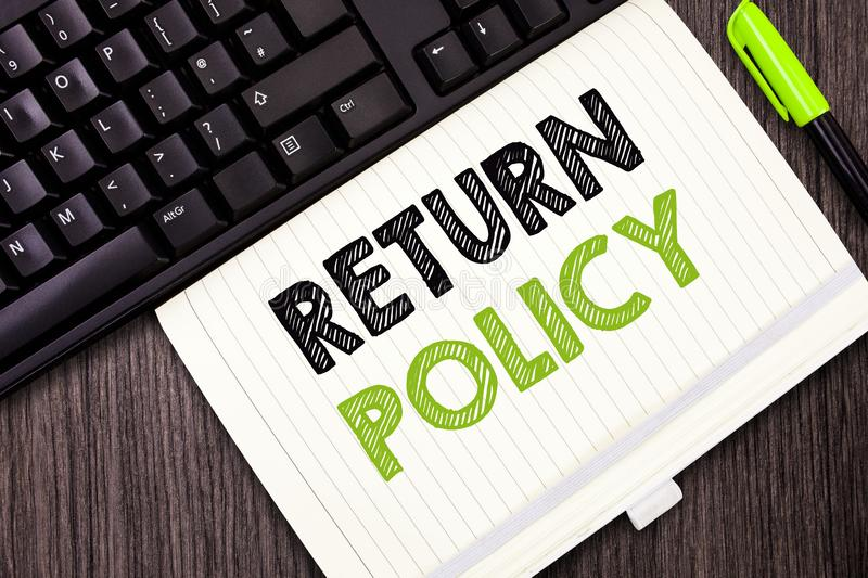 Text sign showing Return Policy. Conceptual photo Tax Reimbursement Retail Terms and Conditions on Purchase.  royalty free stock image