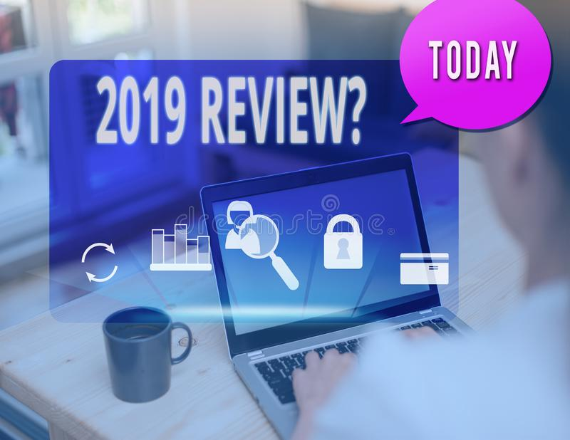 Text sign showing 2019 Review Question. Conceptual photo remembering past year events main actions or good shows. Text sign showing 2019 Review Question royalty free stock photo