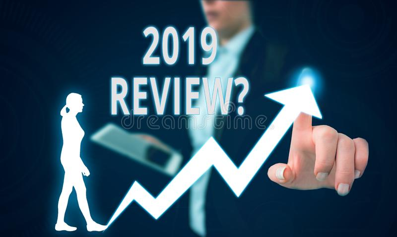 Text sign showing 2019 Review Question. Conceptual photo remembering past year events main actions or good shows Female. Text sign showing 2019 Review Question royalty free stock images