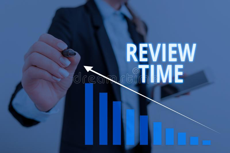 Text sign showing Review Time. Conceptual photo to think or talk about something again Set schedule to review Woman wear. Text sign showing Review Time. Business stock image