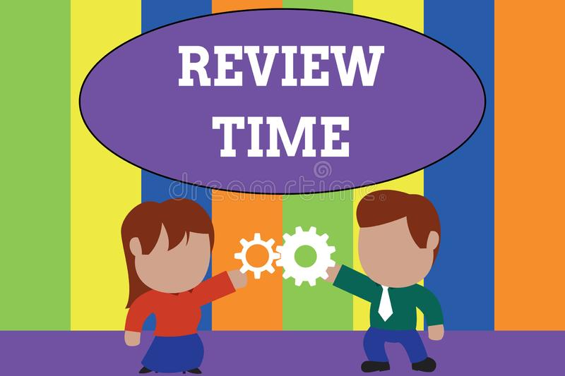 Text sign showing Review Time. Conceptual photo to think or talk about something again Set schedule to review Standing. Text sign showing Review Time. Business stock illustration