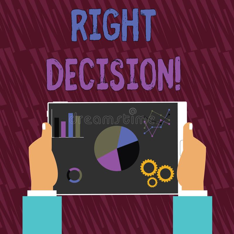 Text sign showing Right Decision. Conceptual photo making good choice after considering a lot of possibilities Hands. Text sign showing Right Decision. Business vector illustration