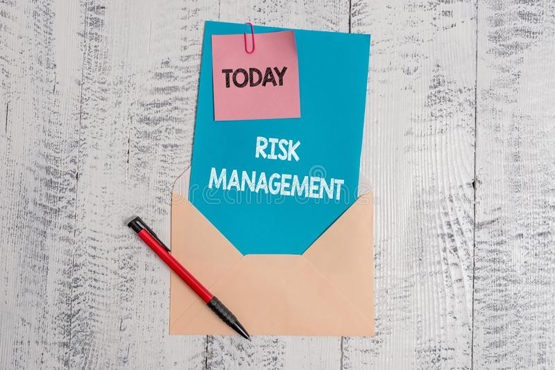Text sign showing Risk Management. Conceptual photo evaluation of financial hazards or problems with procedures Envelope. Text sign showing Risk Management stock image