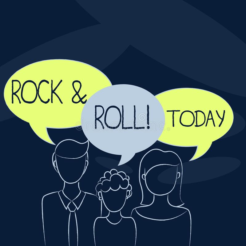 Text sign showing Rock And Roll. Conceptual photo Musical Genre Type of popular dance music Heavy Beat Sound. Text sign showing Rock And Roll. Business photo stock illustration